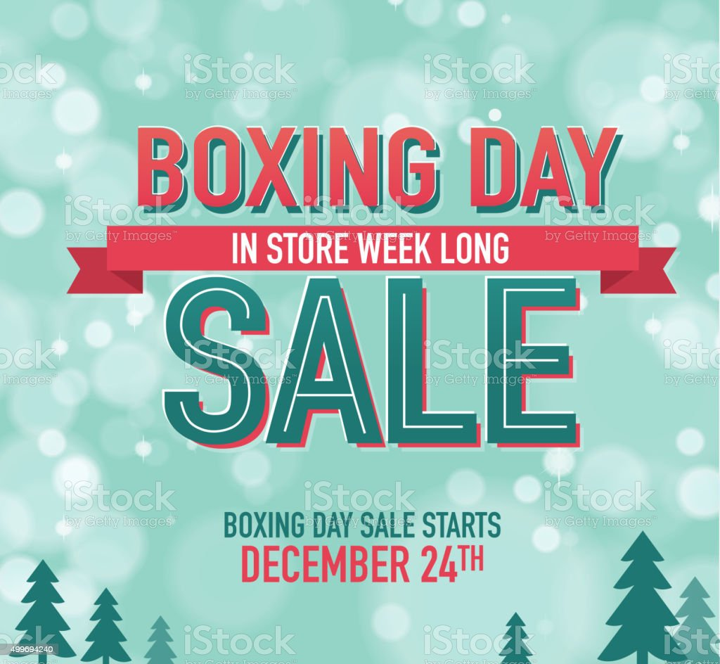 Boxing Day Sale advertisement with text designa and bokeh background vector art illustration