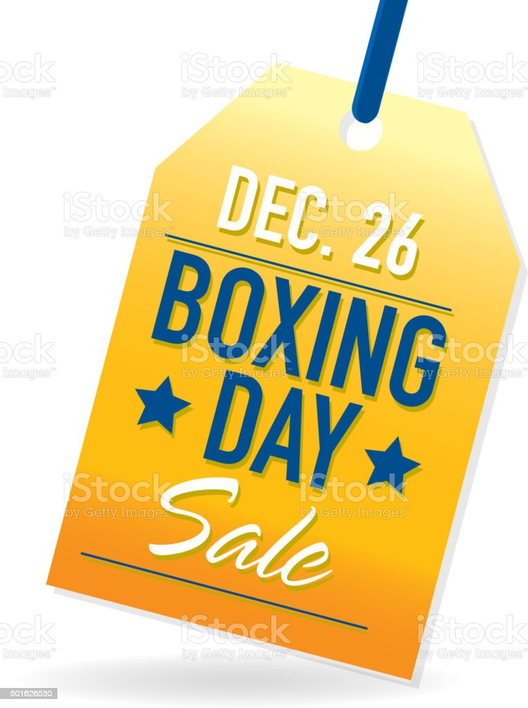 Boxing Day Sale advertisement with yellow and blue sample text vector art illustration