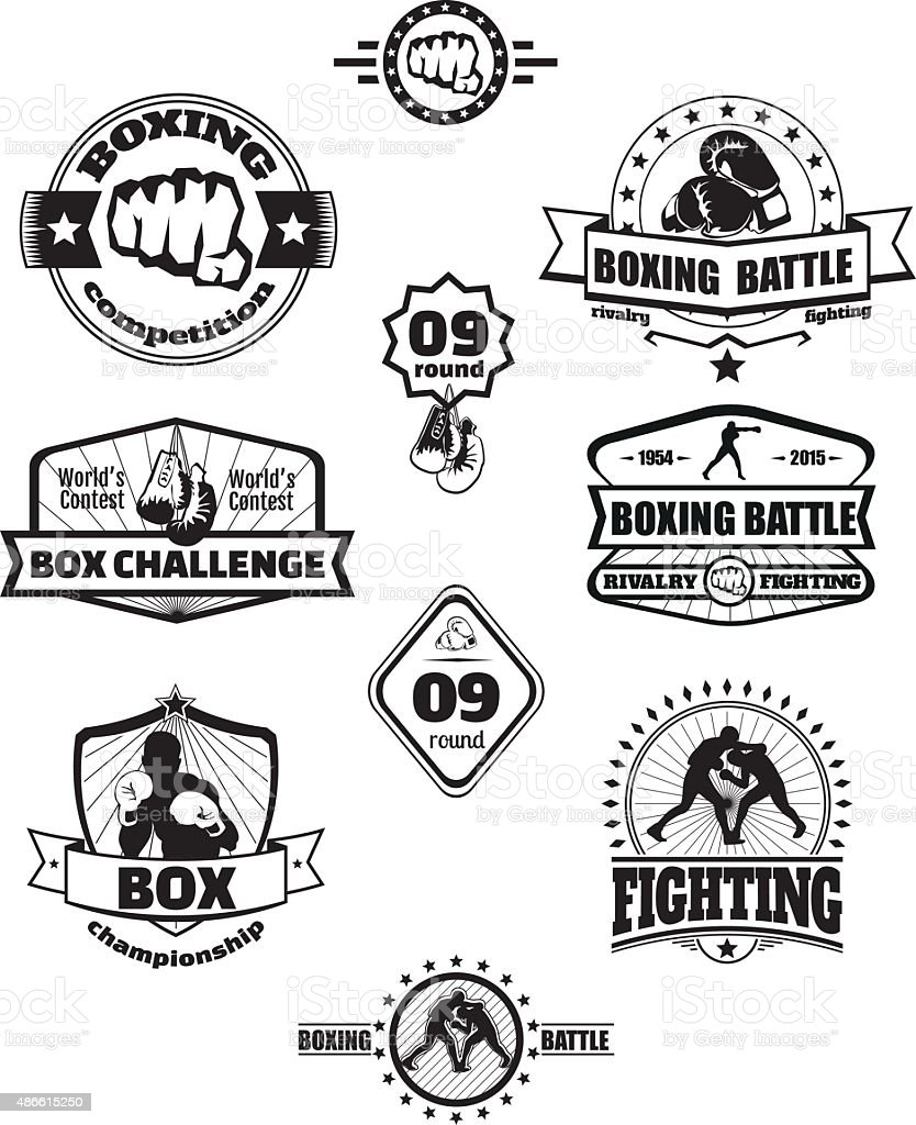 Boxing emblems vector art illustration
