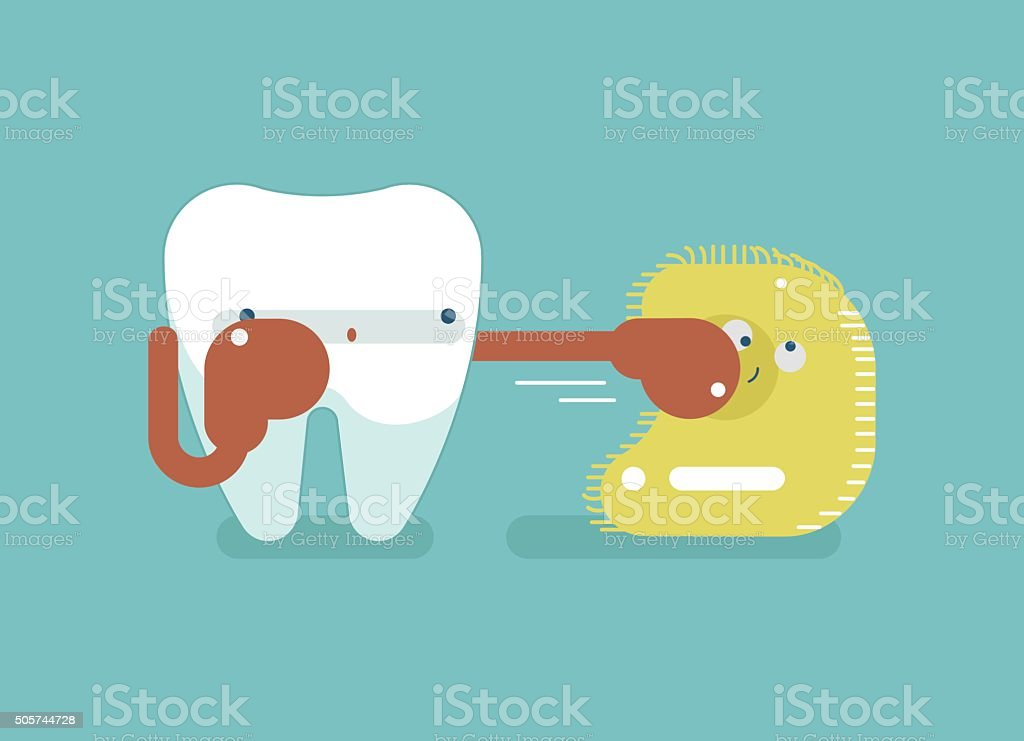 Boxing for protect tooth ,dental concept vector art illustration