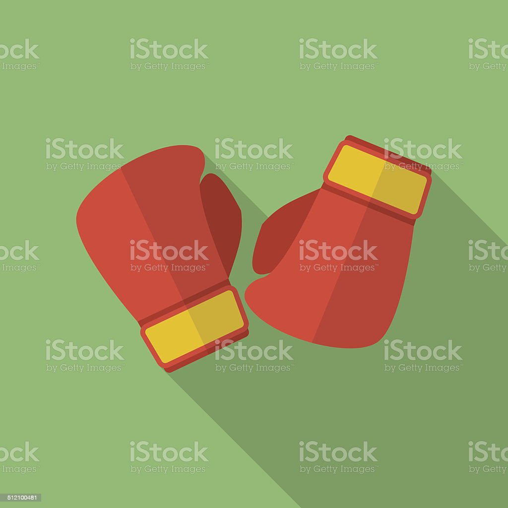 Boxing gloves icon. Modern Flat style with a long shadow vector art illustration