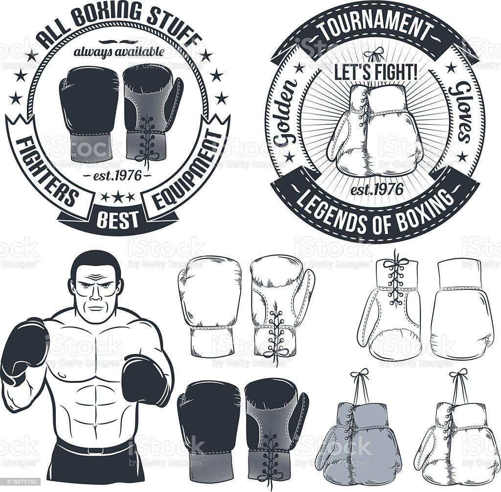 boxing gloves logo vector art illustration