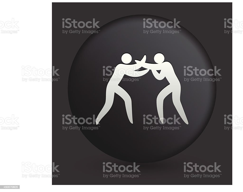 Boxing Icon on Round Black Button Collection royalty-free stock vector art