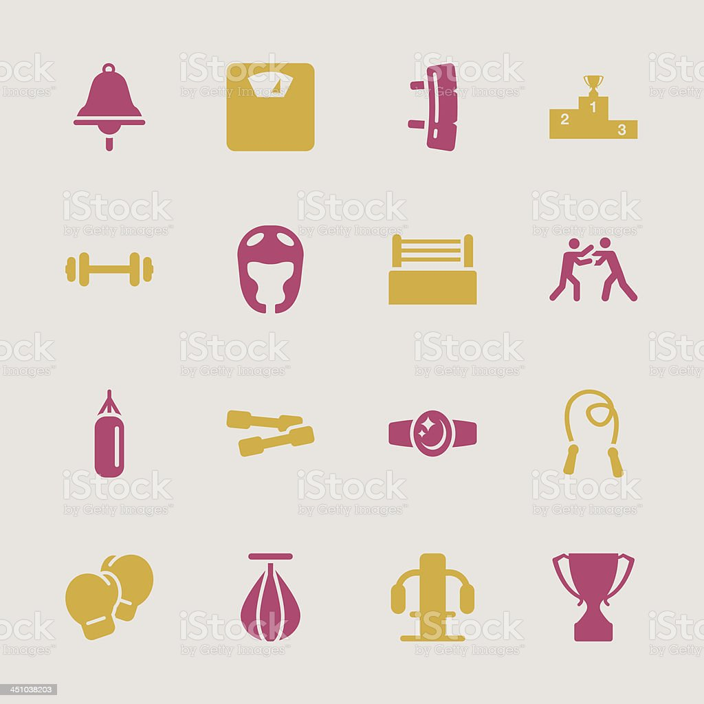 Boxing Icons - Color Series | EPS10 royalty-free stock vector art