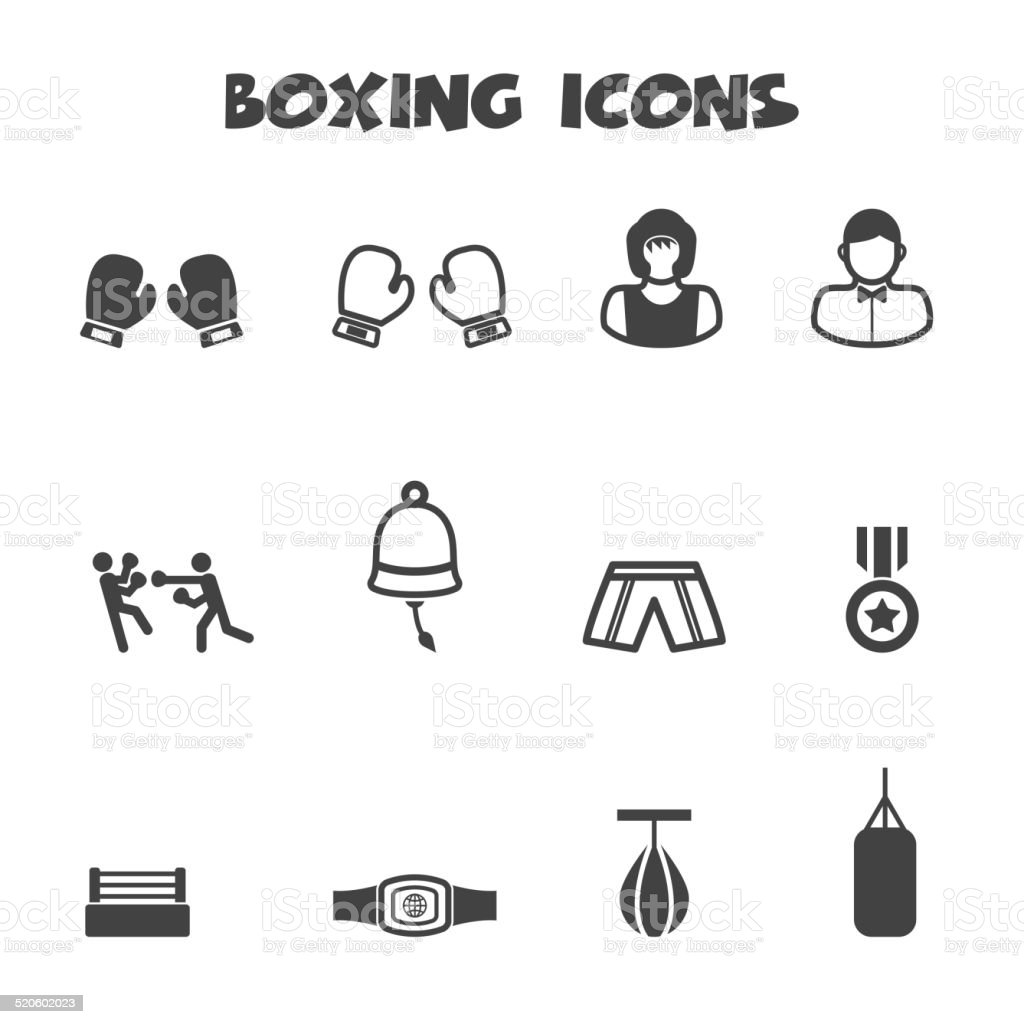 boxing icons vector art illustration