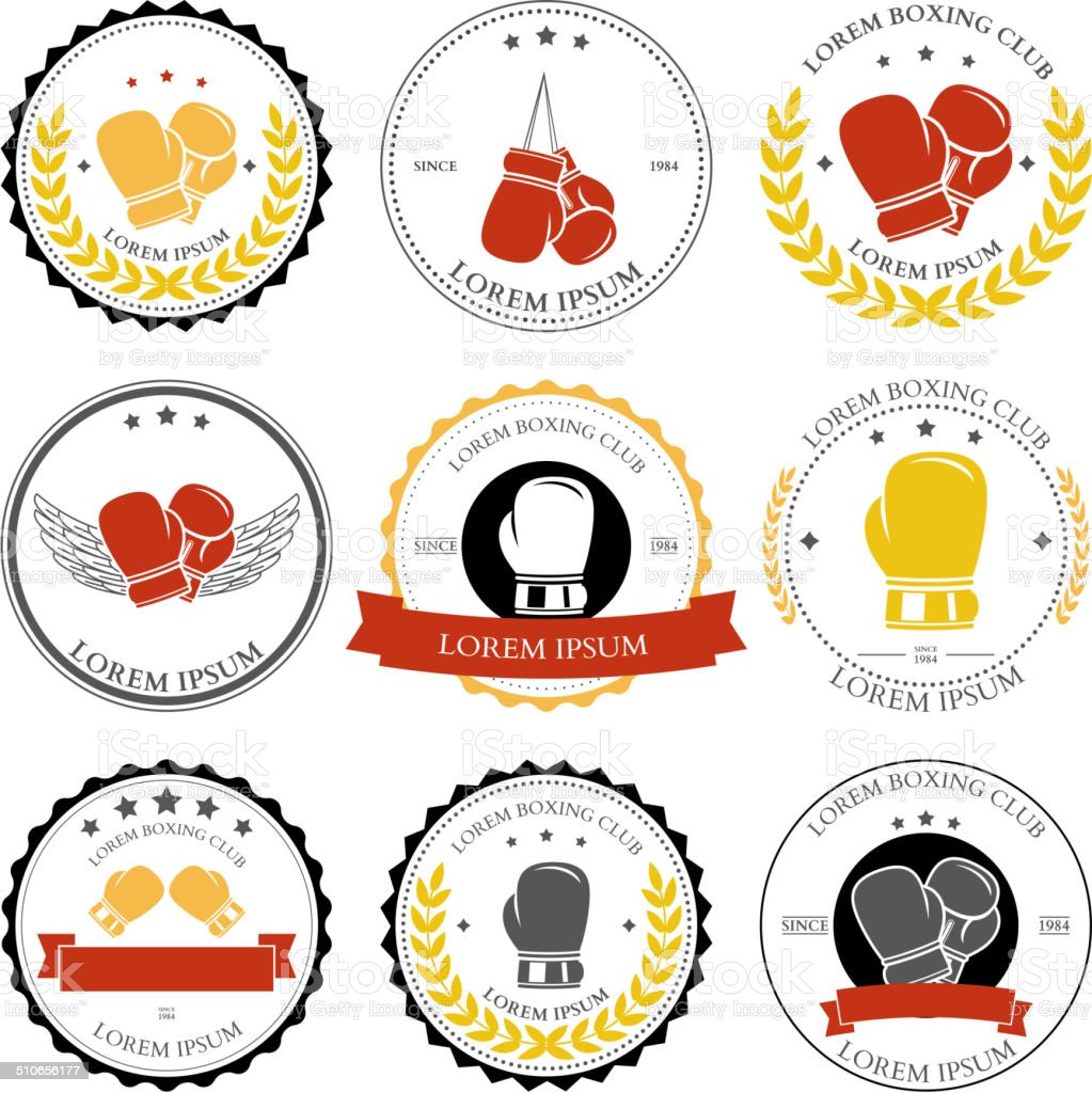 Boxing labels and badges set. Vector vector art illustration