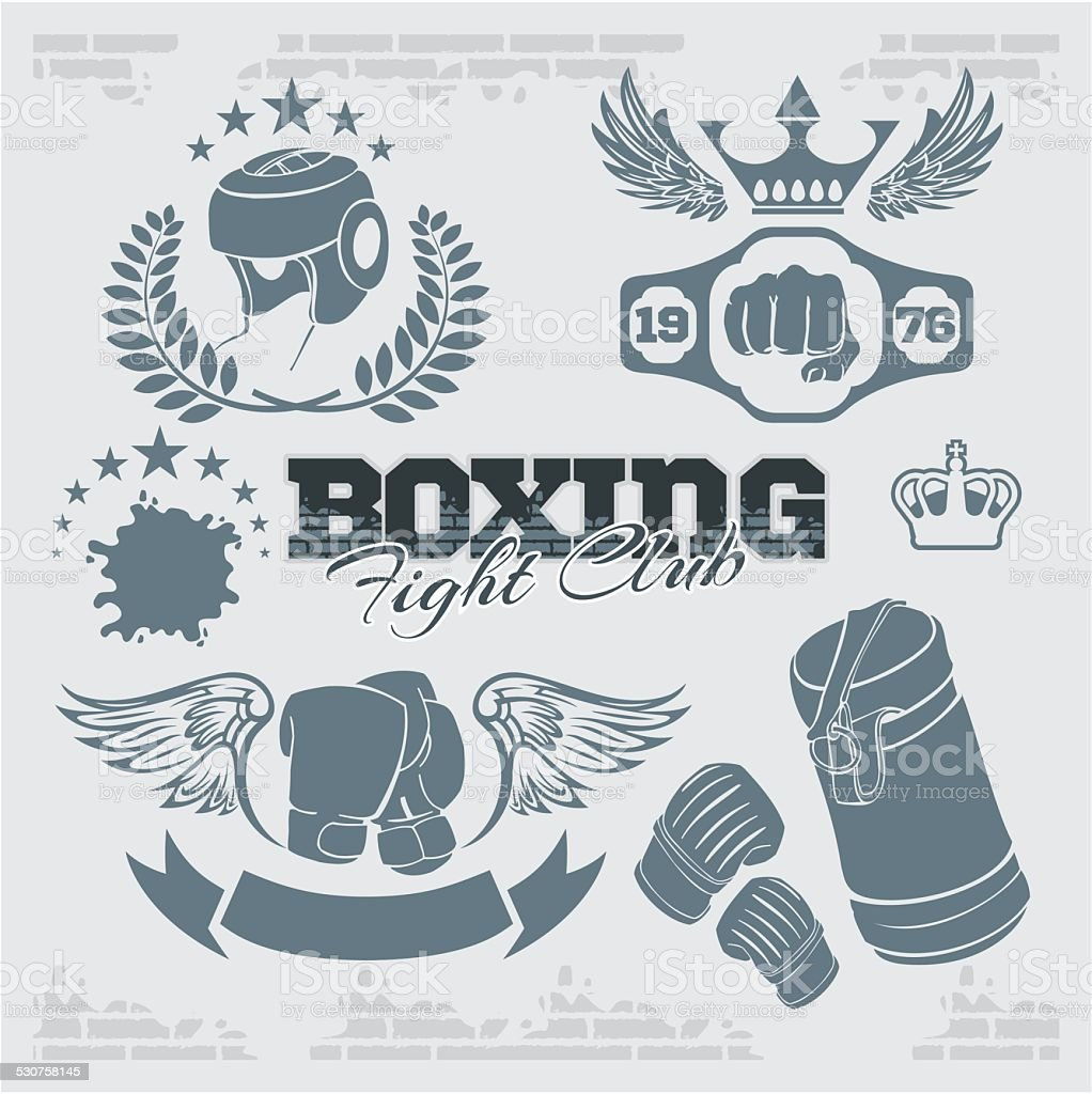 Boxing labels and icons set. Vector illustration. vector art illustration