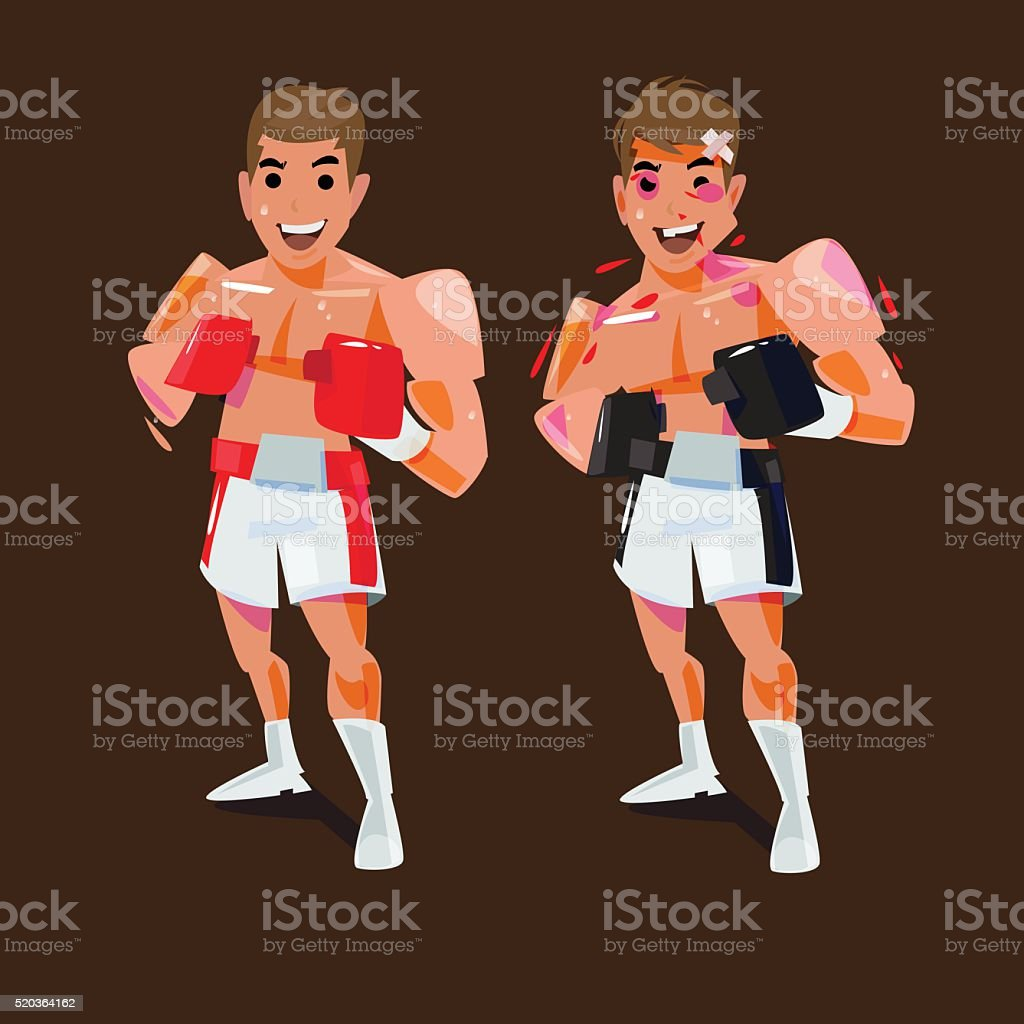 boxing man fine and injury before and after concept. fighting sport vector art illustration