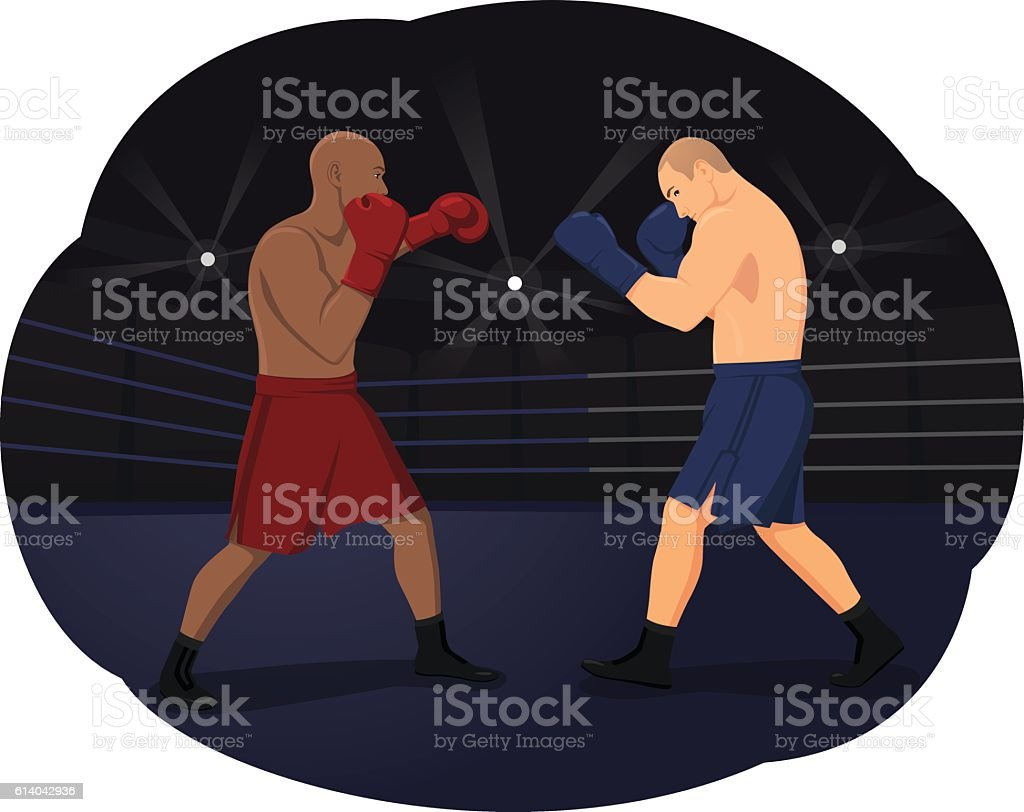 Boxing match vector art illustration