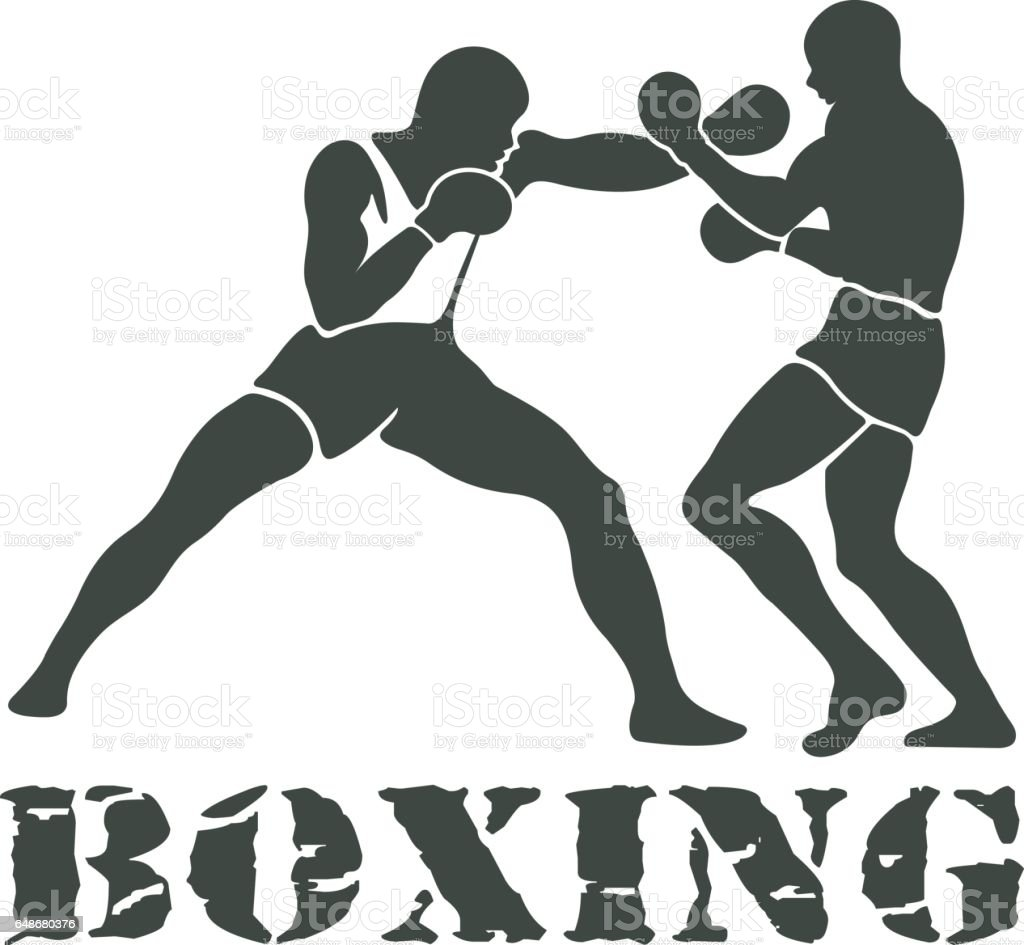 Boxing Players Fighting Sportsman Games vector art illustration