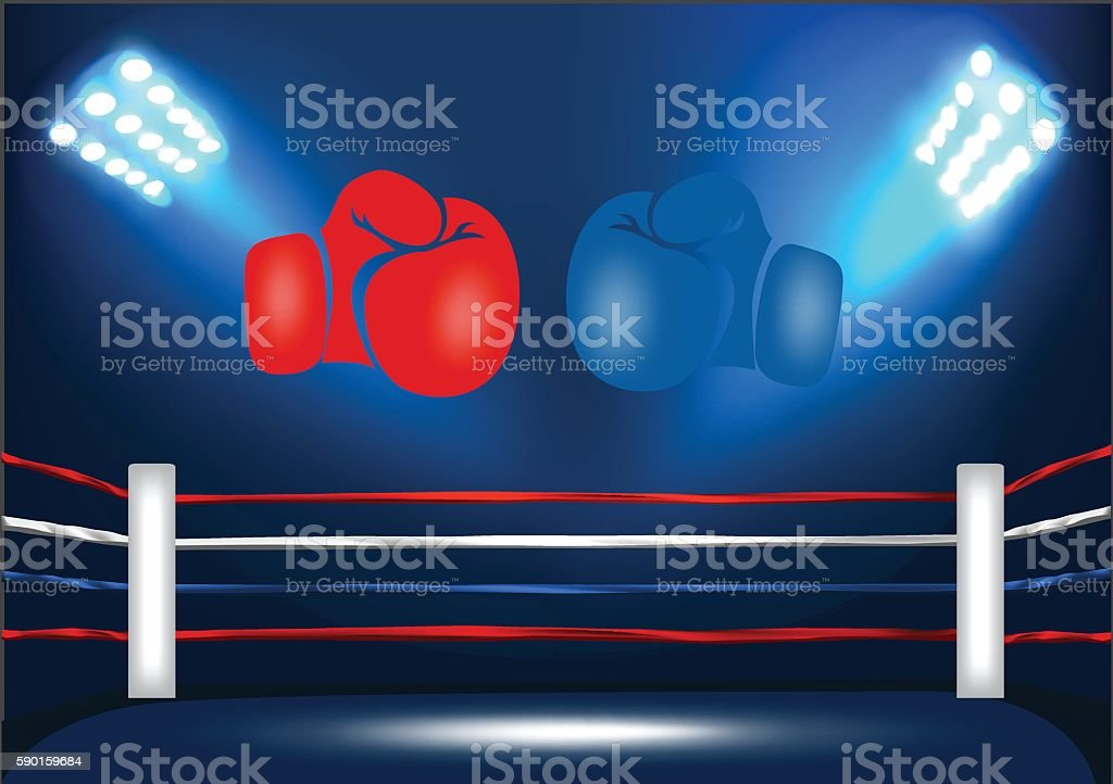 Boxing ring corner with 2 gloves vector art illustration