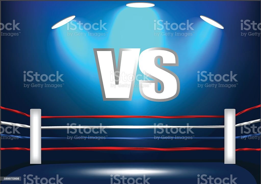 boxing ring corner with VS icon and 3spotlight. vector art illustration