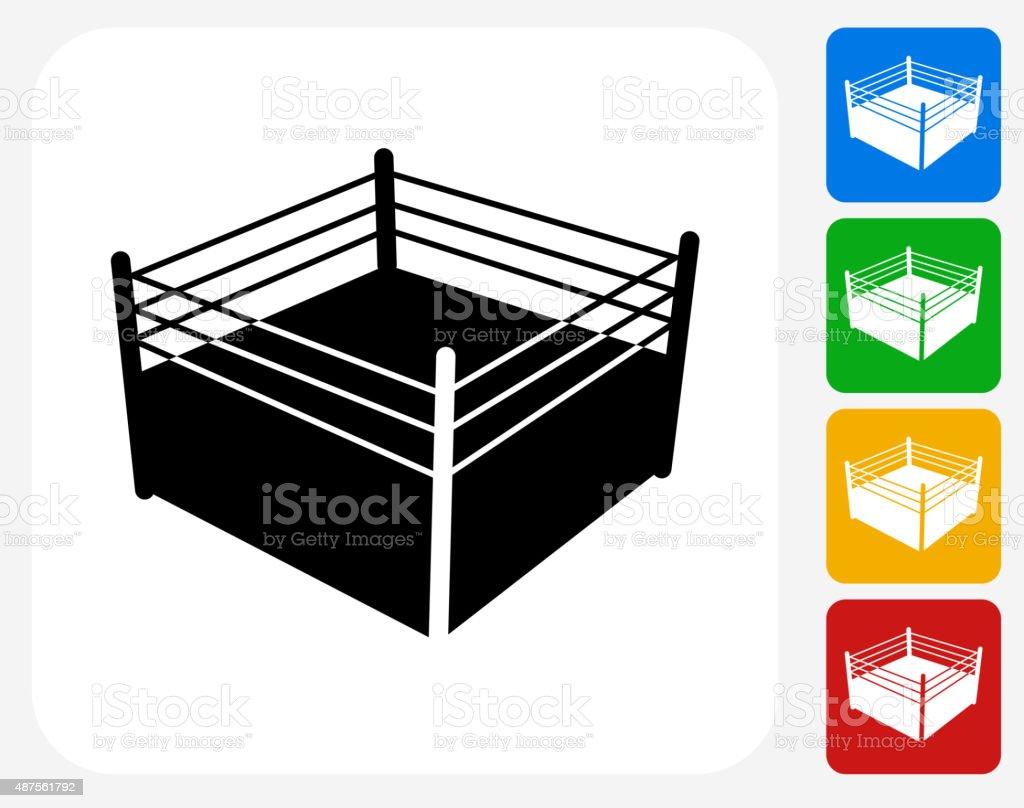 Boxing Ring Icon Flat Graphic Design vector art illustration