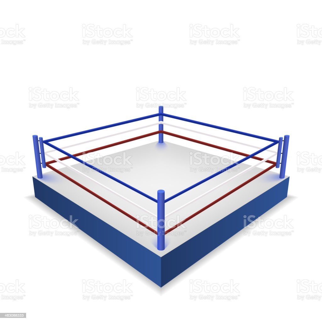 Boxing ring isolated on white background vector art illustration