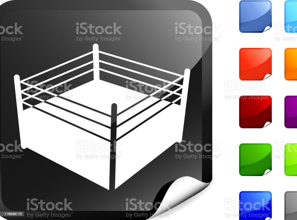 boxing ring  icon on a Sticker royalty-free stock vector art