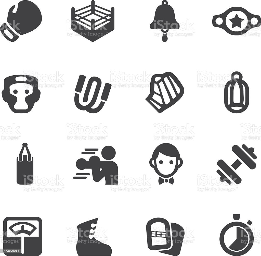 Boxing Silhouette Icons | EPS10 stock photo
