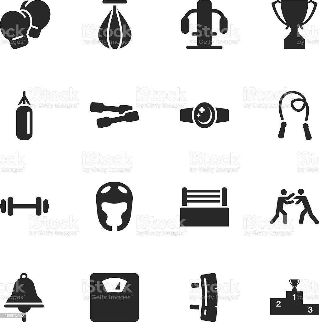 Boxing Silhouette Icons vector art illustration