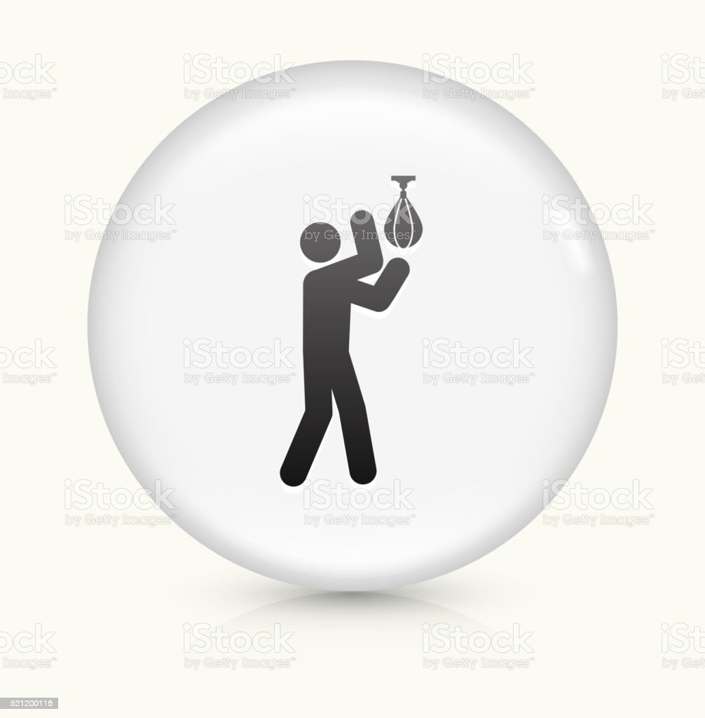 Boxing Stick Figure icon on white round vector button vector art illustration