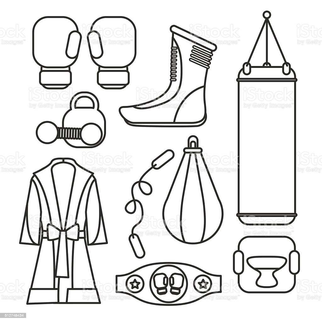 Boxing vector design elements. Fighting and boxing equipment vector art illustration