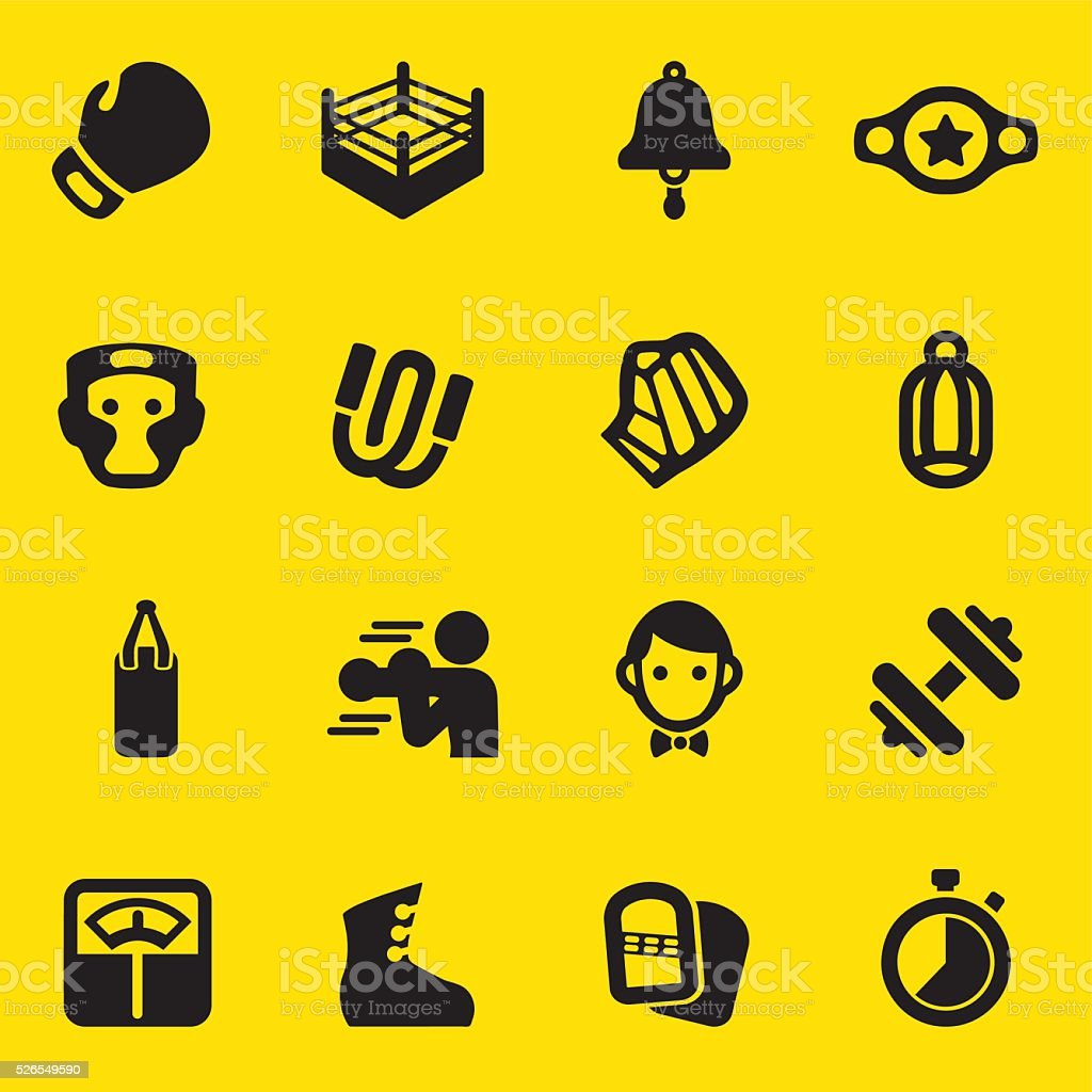 Boxing Yellow Silhouette Icons | EPS10 vector art illustration