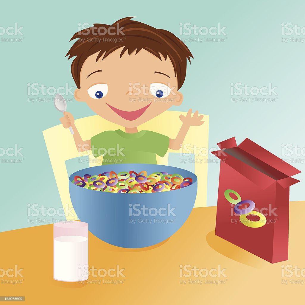 Boy and a Big Bowl of Cereal royalty-free stock vector art