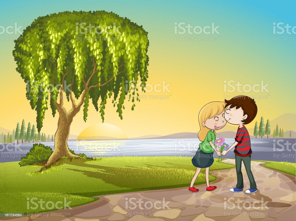 Boy and a girl in nature royalty-free stock vector art