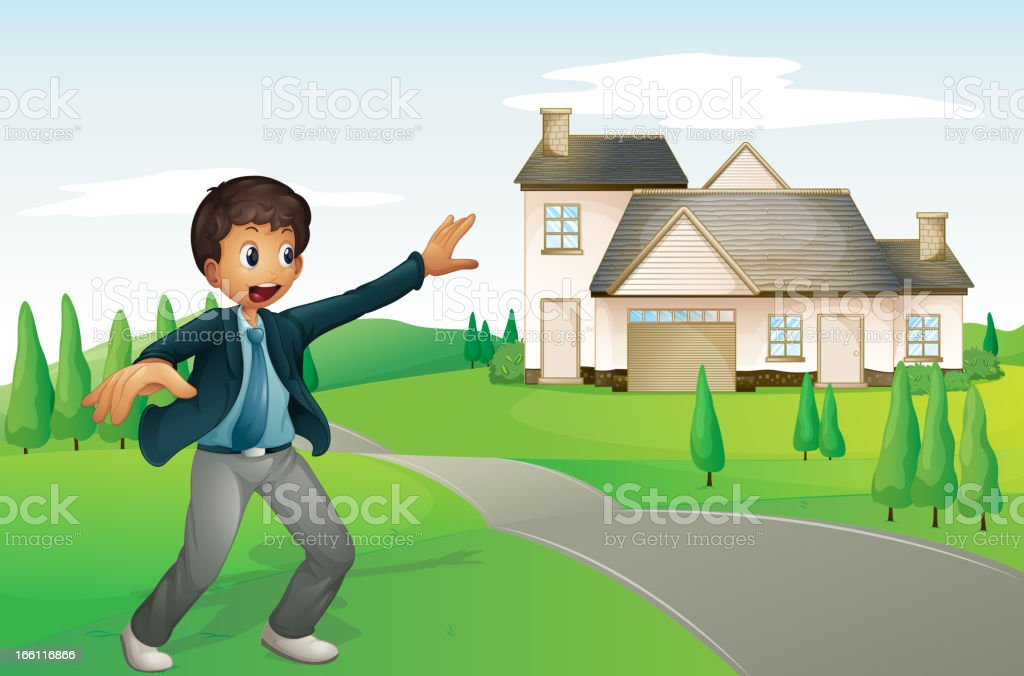 Boy and a house royalty-free stock vector art