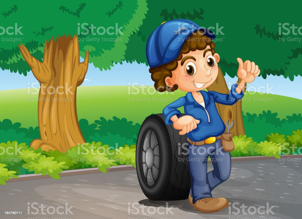boy and a tire at the road royalty-free stock vector art