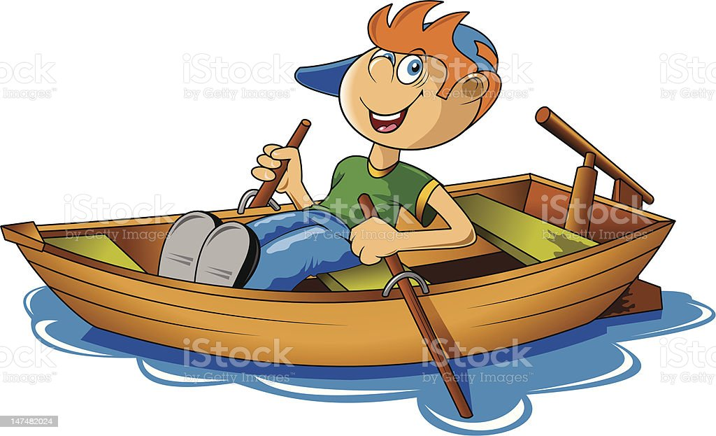 boy and boat vector art illustration
