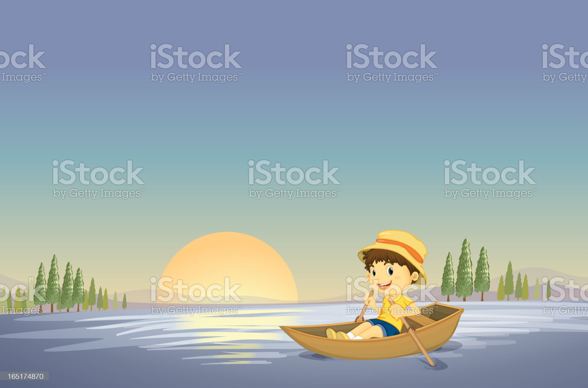 Boy and boat royalty-free stock vector art