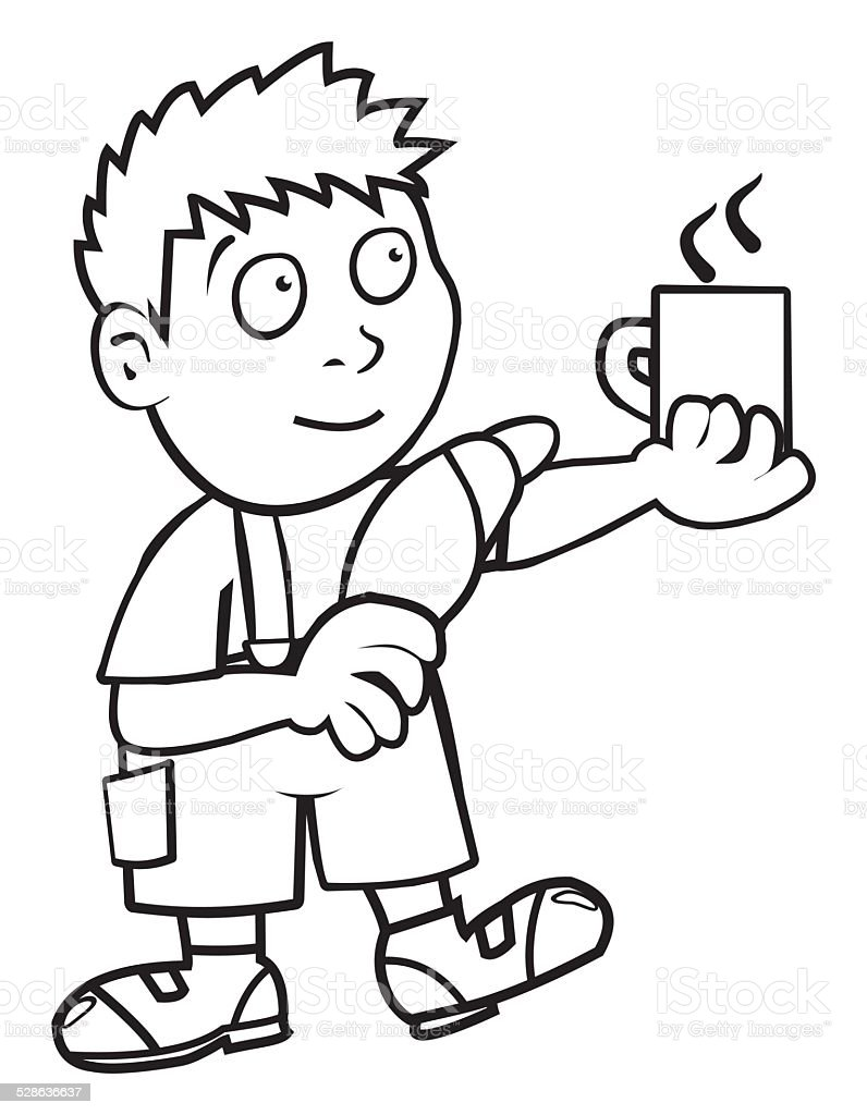 Boy and breakfast, coloring book vector art illustration