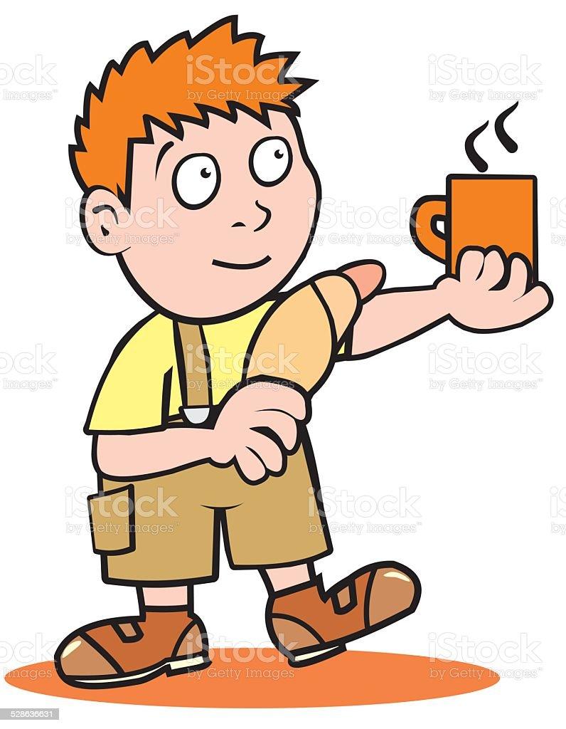 Boy and breakfast vector art illustration