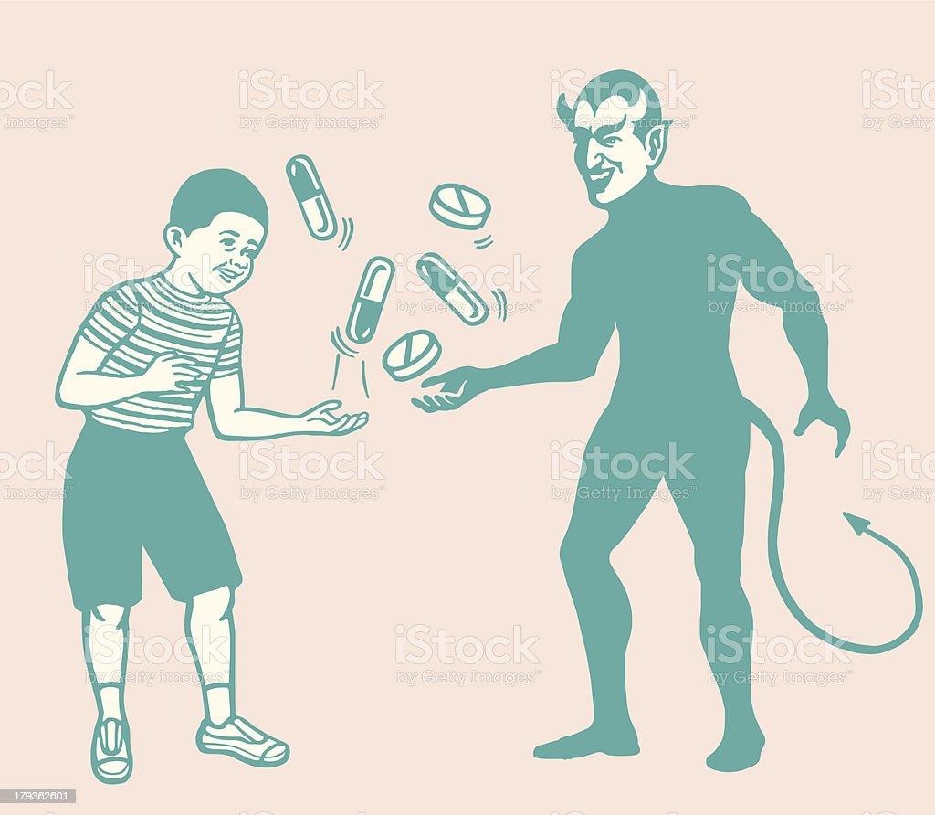 Boy and Devil Juggling Pills royalty-free stock vector art