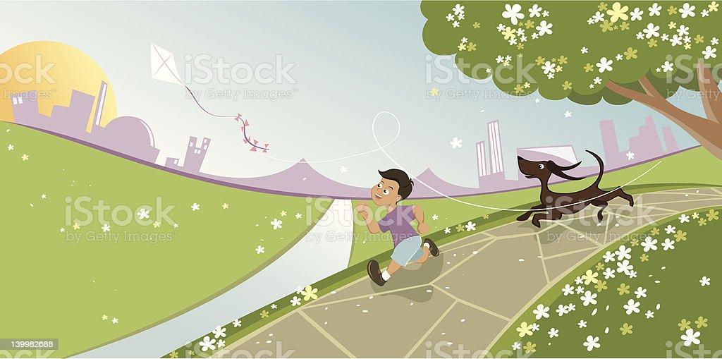 Boy and dog chasing kite royalty-free stock vector art