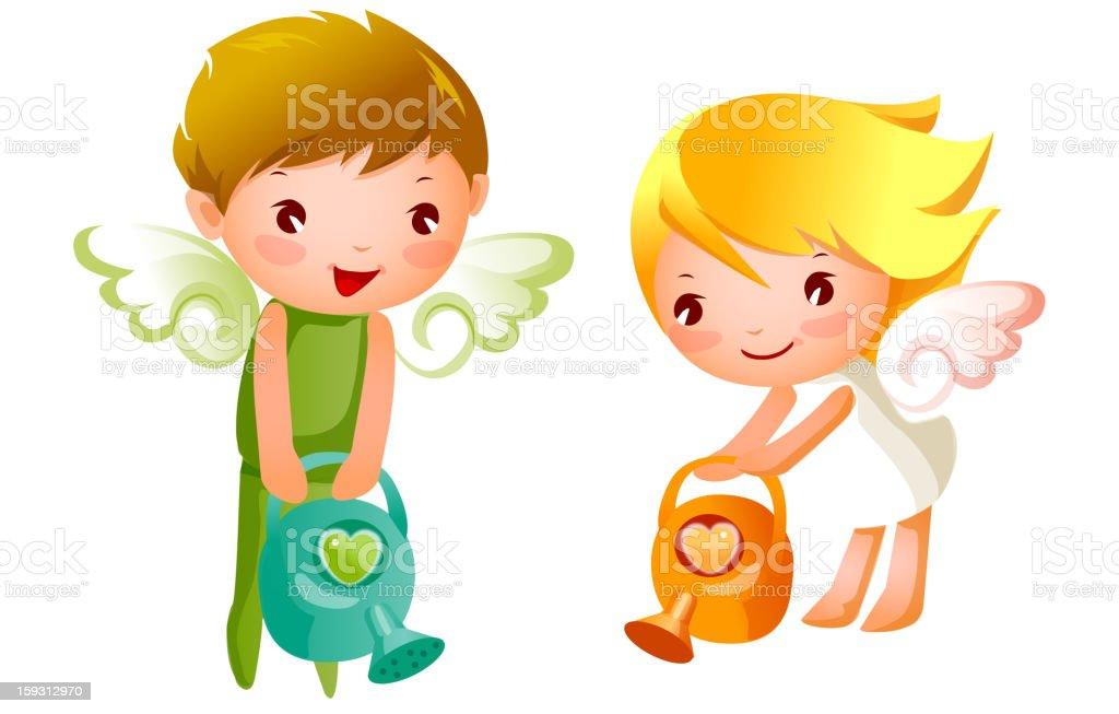 Boy and Girl angels watering royalty-free stock vector art