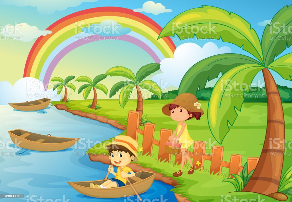 Boy and girl are boating royalty-free stock vector art