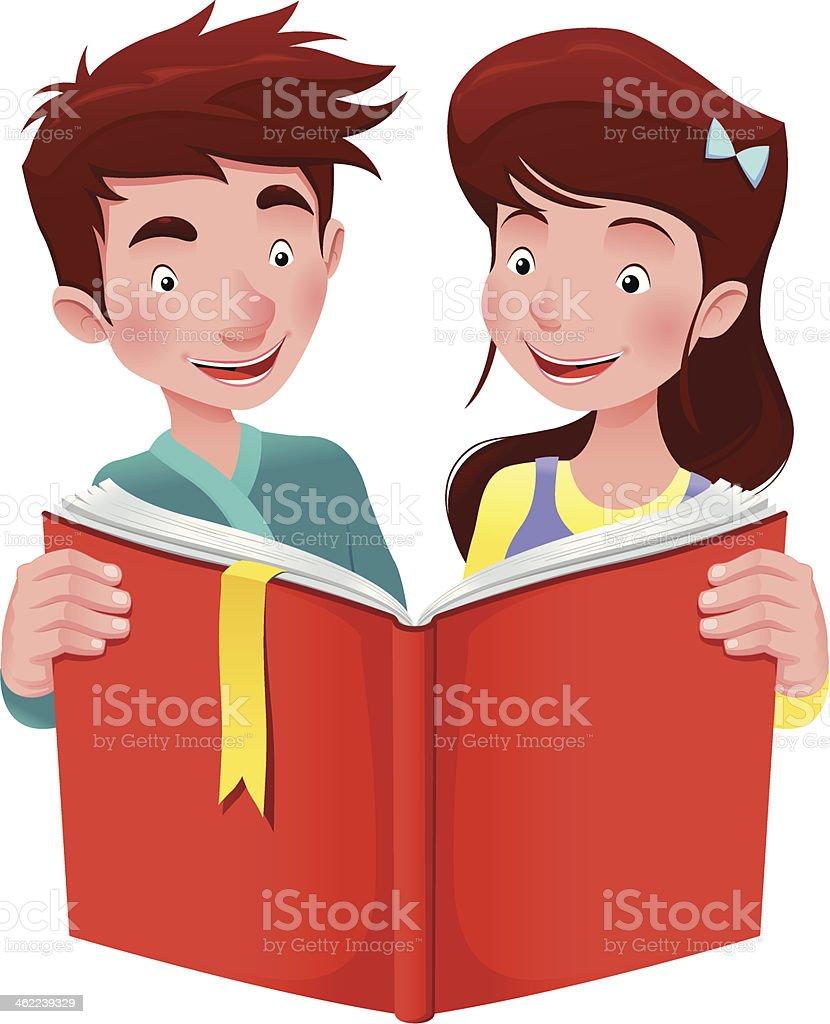 ボーイとガールは本を読んでいます のイラスト素材 462239329 | istock
