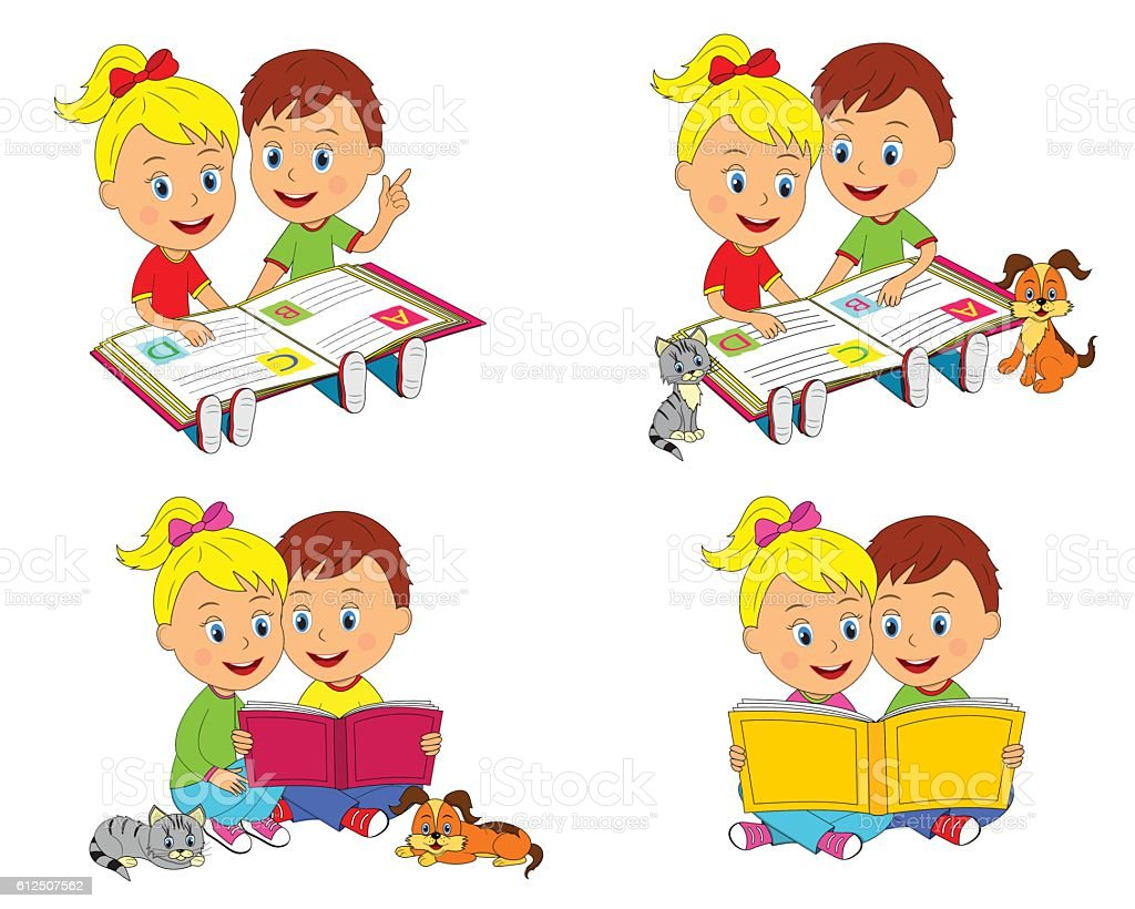 boy and girl are sitting and reading a book vector art illustration