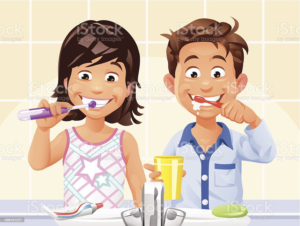 Boy and Girl Brushing Teeth vector art illustration