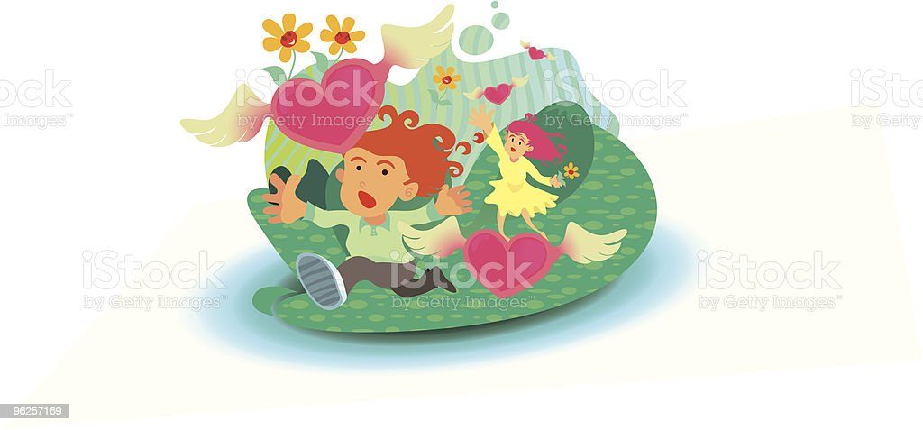 Boy and Girl Catching Flown Away Love flowers vector art illustration