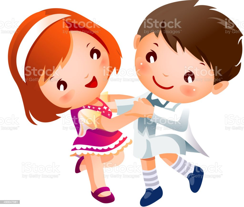Boy and Girl dancing royalty-free stock vector art
