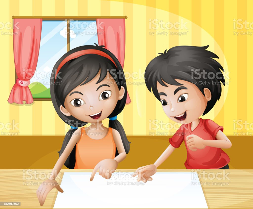 boy and girl discussing with empty signage at the table royalty-free stock vector art