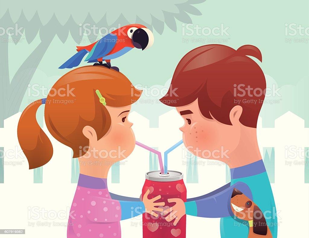 boy and girl drinking vector art illustration