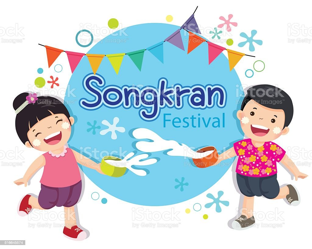 Boy and girl enjoy splashing water in Songkran festival Thailand. vector art illustration