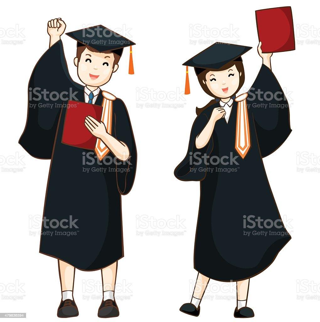 boy and girl graduate from high school vector vector art illustration