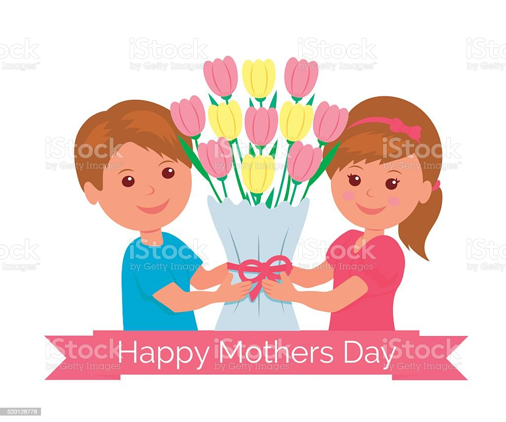Boy and girl holding a bunch as a gift mom. vector art illustration