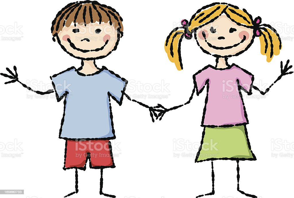 girl and boy stick figure holding hands