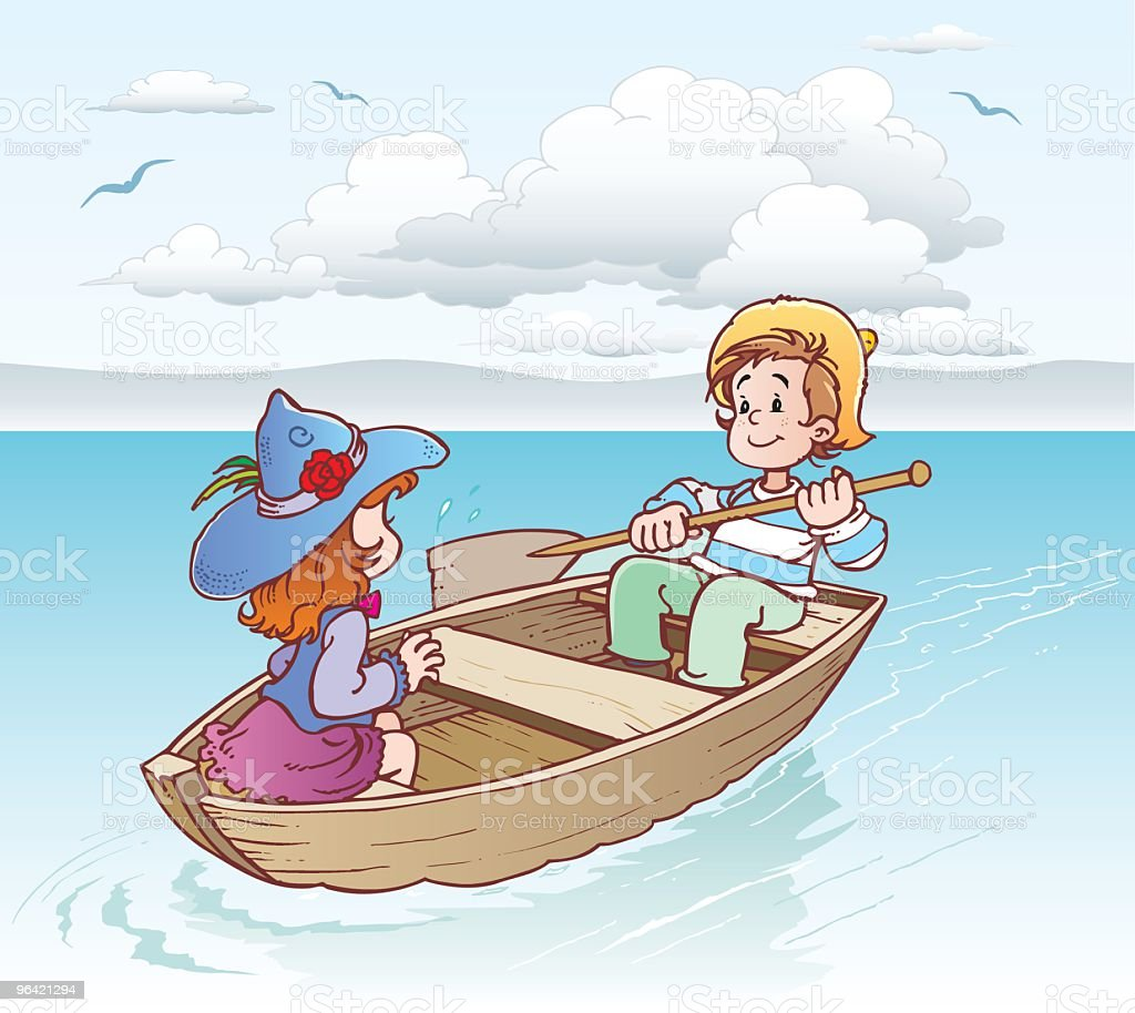 Boy and girl in a boat royalty-free stock vector art