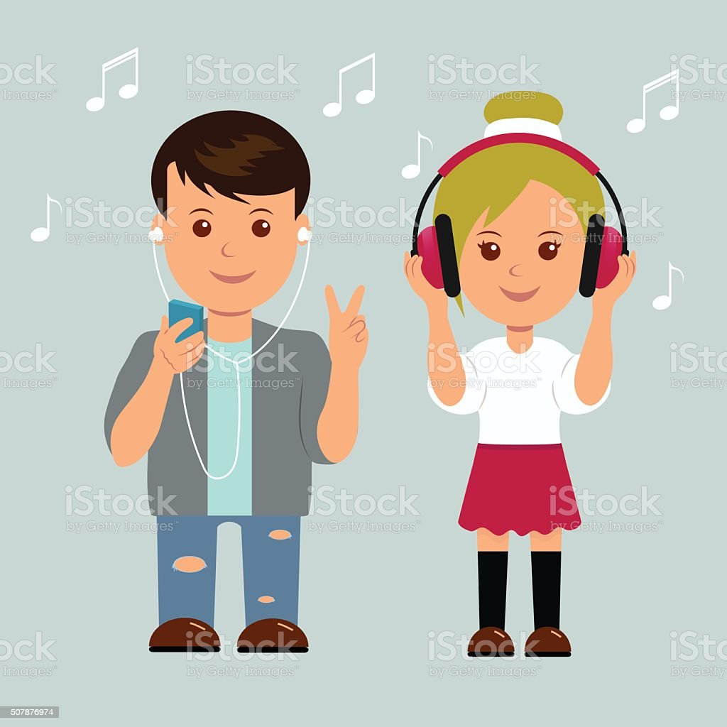 Boy and girl in headphones. Isolated teens music lovers vector art illustration