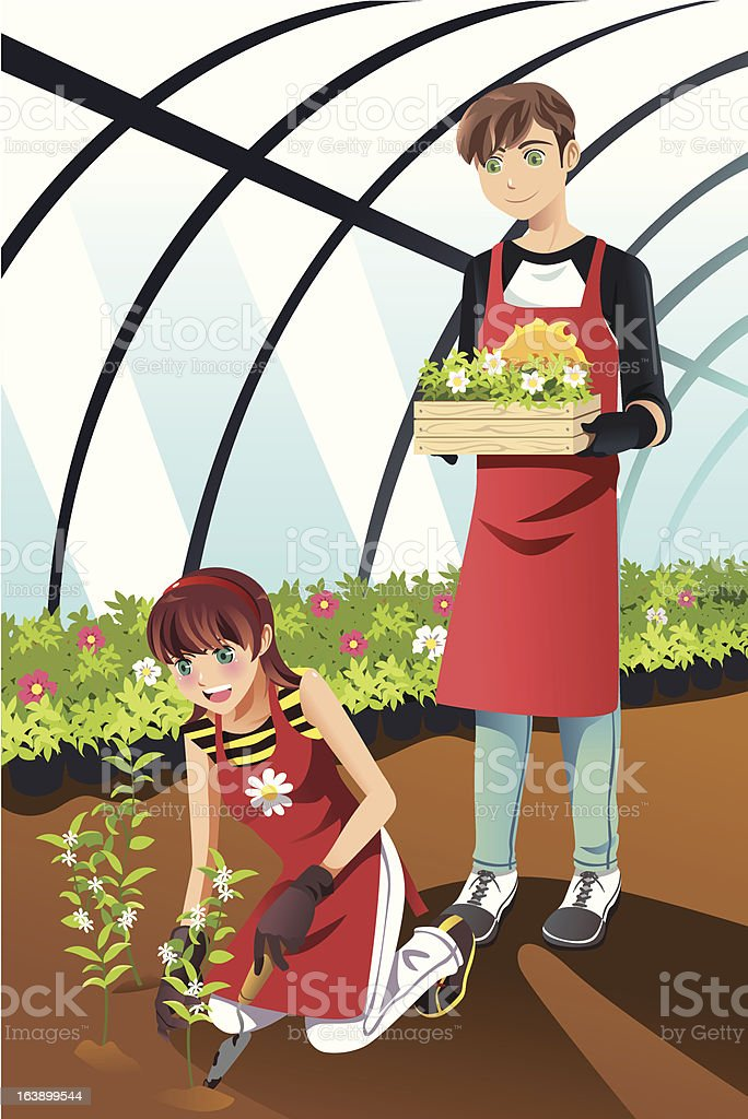 Boy and girl in red aprons plant flowers in a greenhouse royalty-free stock vector art